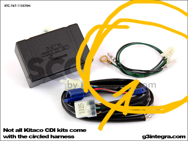 Not all Kitaco CDI kits come with the circled harness